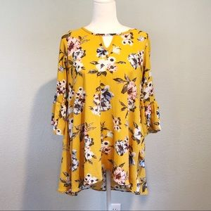 Yellow Floral 3/4 Sleeve Tunic